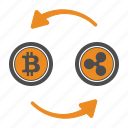 bitcoin, bitcoins, ripple, transfer icon