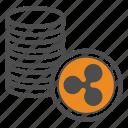ripple, coin, bitcoin, bitcoins icon