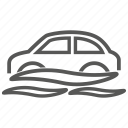 car, flood, sink, water icon