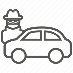 car, crime, steal, theft, vandalism icon