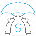 insurance, investment, money bag icon