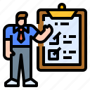 assessment, businessman, checking, evaluate, evaluation icon