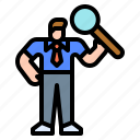 businessman, glass, identification, magnifying, research
