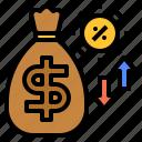 bag, interest, money, rate, risk