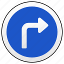 move, right, road, sign, turn icon
