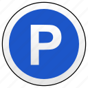 parking, road, round, sign icon