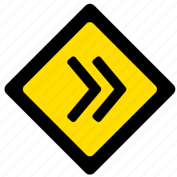 arrow, attention, right, road, sign, yellow icon
