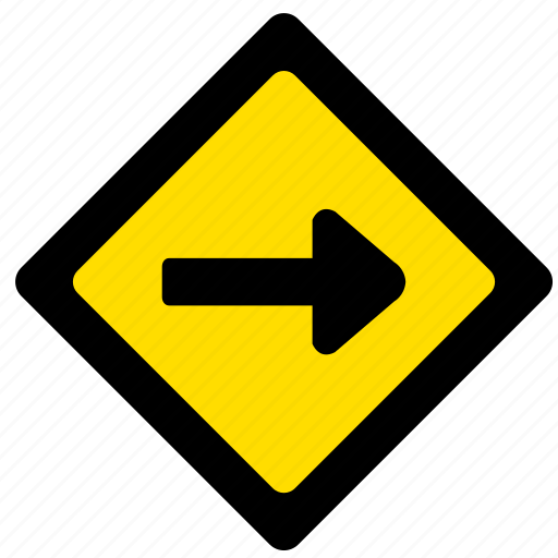 attention, right, road, sign, yellow icon
