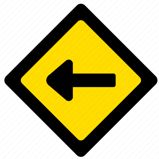 attention, left, road, sign, yellow icon