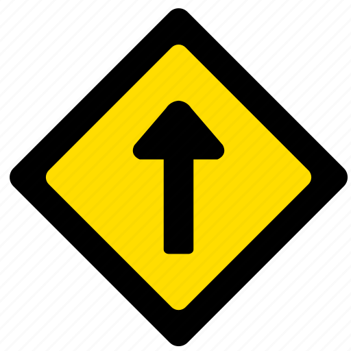 arrow, attention, road, sign, top, yellow icon