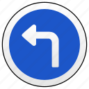 left, road, sign, turn icon
