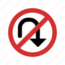 no turn, no u turn, sign icon