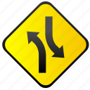 road, sign, traffic, turning, warning icon