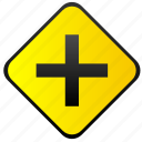 cross, crossway, road, sign, warning icon