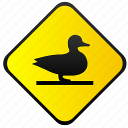 duck, road, sign, warning icon