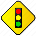light, road, sign, traffic, warning icon