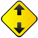 arrows, road, sign, warning, ways icon