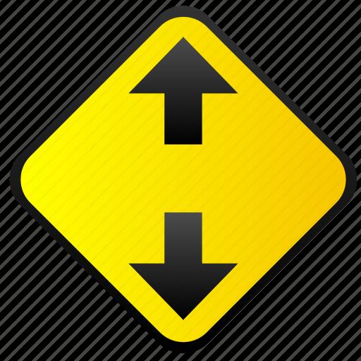 arrows, road, sign, warning, ways icon