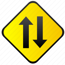 oncoming, road, sign, traffic, warning, ways icon