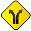 road, traffic, turning, warning, ways icon