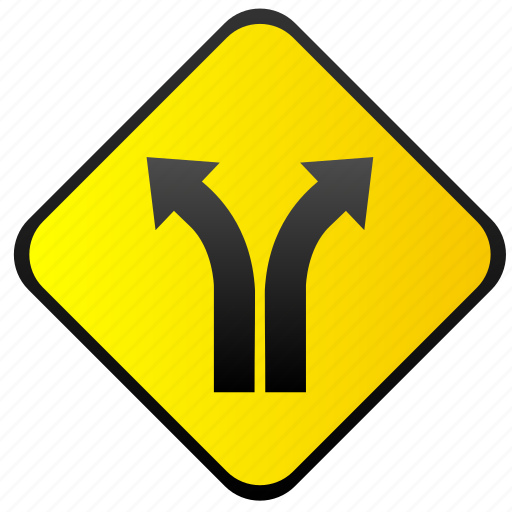 road, traffic, turning, warning, ways icon
