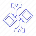 direction, logistic, mobile, protocol, robot, working icon