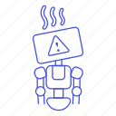 ai, alert, attention, bugs, overheat, repairs, robot, warning icon