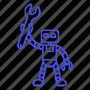 ai, bugs, fix, repairs, robot, technician, wrench icon