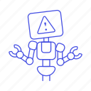 ai, alert, attention, bugs, repairs, report, robot, warning icon