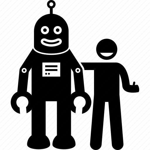 android, friend, good, human, man, people, robot icon