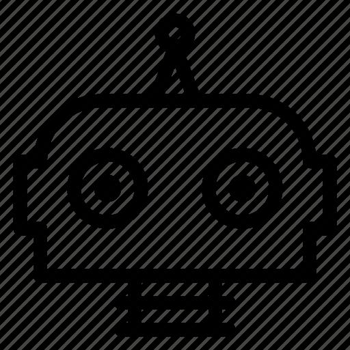 automatic, cute, head, robot icon