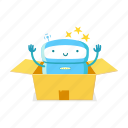 robot, unboxing, gift, box