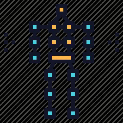 body, robotics, sensor, technology, tracking icon
