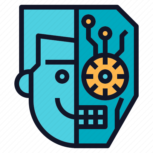 avatar, half, head, human, robot icon