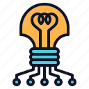 bulb, chip, innovation, light, technology icon