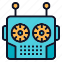 head, robot, robotics, technology, vintage icon