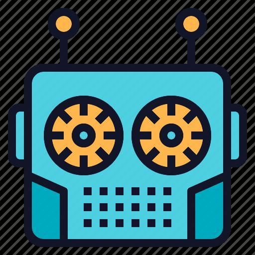 head, robot, robotics, technology, vintage icon