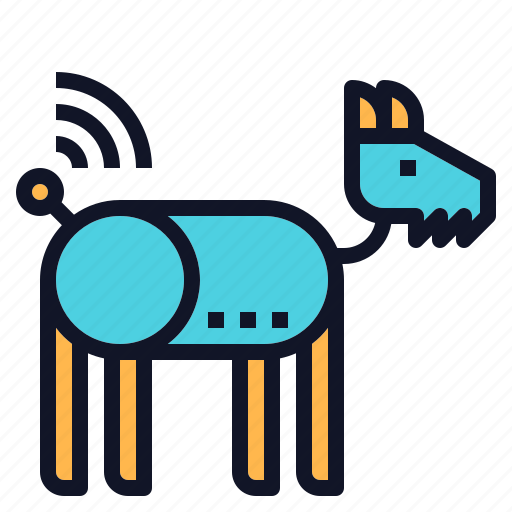 dog, pet, robotic, technology icon