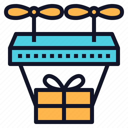 drone, fly, gift, shipping, technology icon
