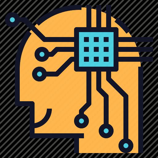 Chip, computer, human, mind, smart, technology icon