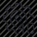 digital, factory, gear, industry 4.0 icon