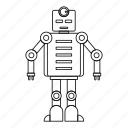 futuristic, line, machine, outline, robot, robotic, thin icon