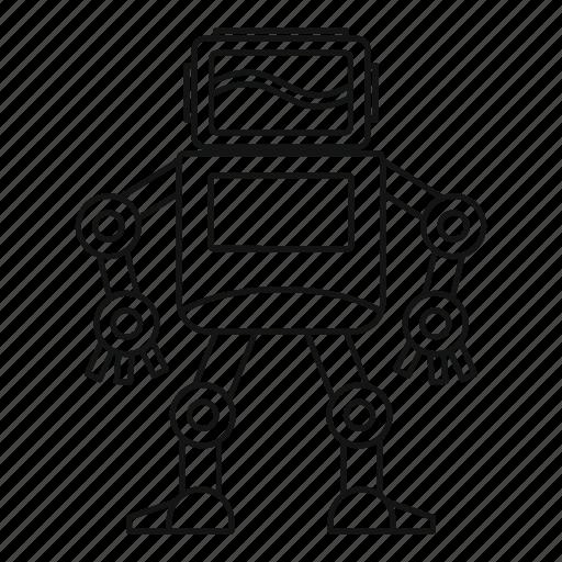 futuristic, line, machine, outline, robot, robotic, thin icon