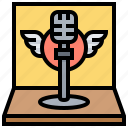 instrument, microphone, retro, sing, winged icon