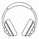 audio, dj, earphone, headphone, line, outline, thin icon
