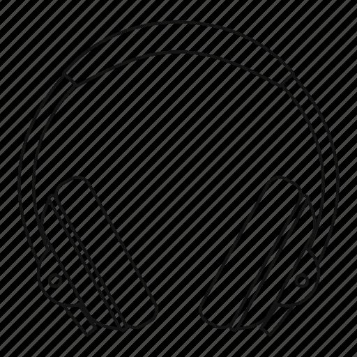 audio, dj, earphone, headphone, line, outline, thin icon