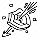 ability, arrow, break, game, piercing, shield, skill icon
