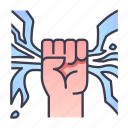 bolt, energy, fist, hand, power, strength, thunder icon