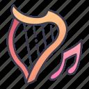 bard, fantasy, harp, instrument, music, musician, rpg icon