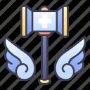 crusader, fantasy, hammer, knight, paladin, rpg, templar icon